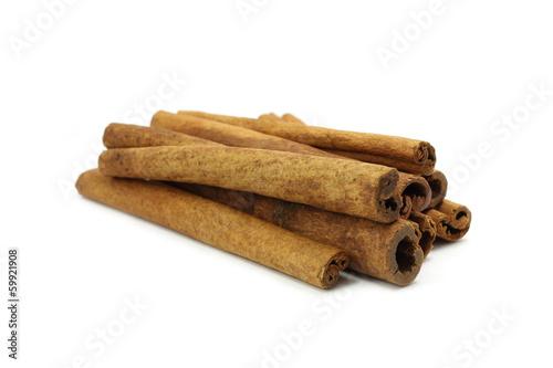 spicy cinnamon sticks on white background