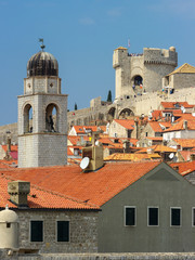 tower, red tiled roofs and old fortress