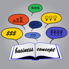 Business concept in open book