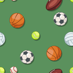 vector seamless pattern of sport balls on green background