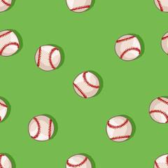 vector seamless pattern of baseball balls on green background