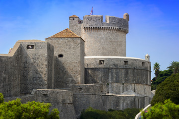 medieval fort with towers and fortifications