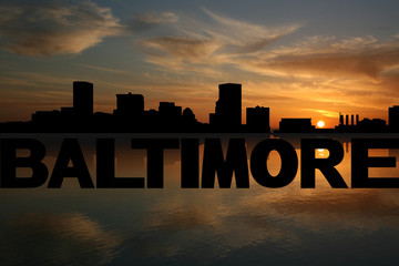 Baltimore skyline reflected with text and sunset illustration