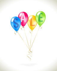 Flying balloons with sale promotion