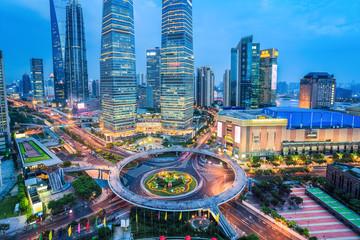 Aluminium Prints Shanghai shanghai midtown in nightfall