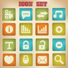 Web icons,vintage style,vector