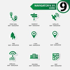 Map and Navigator icons set 1,Green version