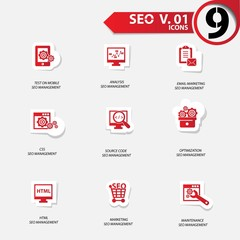 SEO icons set 1,red version vector