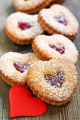 Linzer Cookie and red heart.