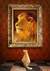 Cat looking at a portrait of a lion in a golden frame.