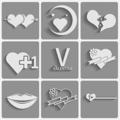 Set valentine's day icons, love romantic signs