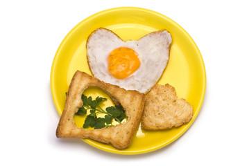 Romantic Breakfast: heart-shaped fried egg, heart-shaped toasts