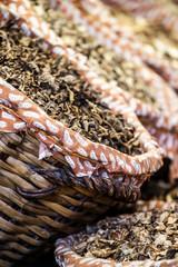 Dried mushrooms in a market, in La Boqueria, market Barcelona