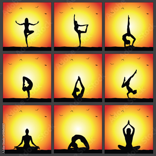 Yoga Poses Sunset Silhouettes