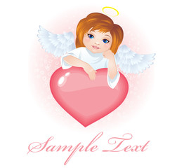 Angel wings on a cloud. Vector Illustration