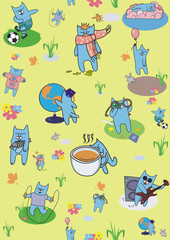 colored wallpaper with blue cats