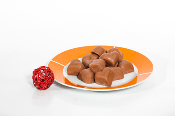 Chocolate hearts on plate