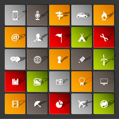 Modern information icons for mobile devices and interfaces