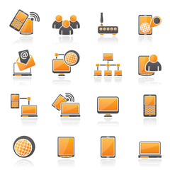 Communication and technology equipment icons - vector icon set
