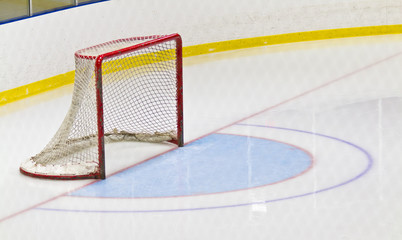 Ice hockey net in an arena