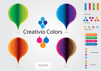 Vector Colorful Drop Kit Icons Pack