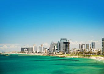 Sea coast and the view of the Tel Aviv from Old Jaffa
