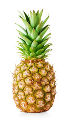 Ripe pineapple with green leaves