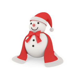 Cute snowman in santa claus style