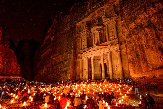 Al Khazneh in Petra, Jordan at night.