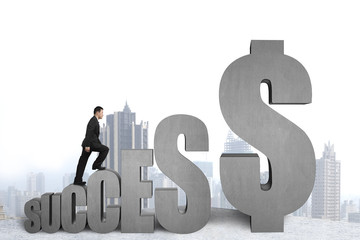 """Businessman walking on """"SUCCESS"""" concrete 3D word with city view"""