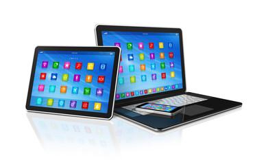 Smartphone, Digital Tablet Computer and Laptop