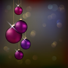Christmas background with violet evening balls