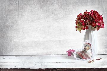 hydrangea composition in retro background
