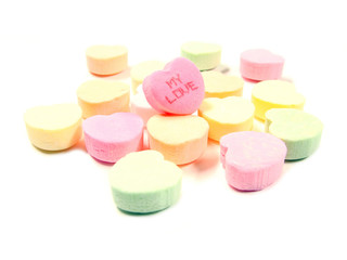 "Pile of Valentines candies - one with ""my love"" text"