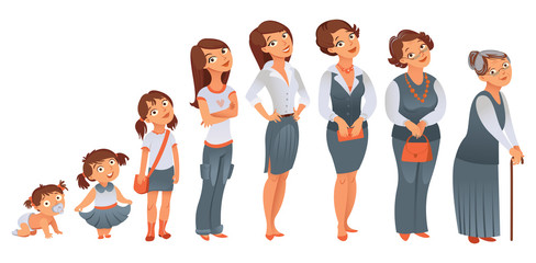 Generations woman. Stages of development