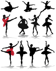 Silhouettes and shadows of ballerinas, vector
