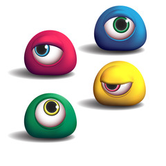 3d monsters eyes