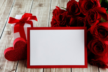 card with roses