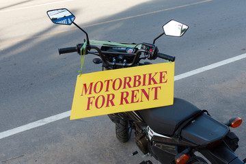 Motorbike for rent table on motorcycle in Thailand