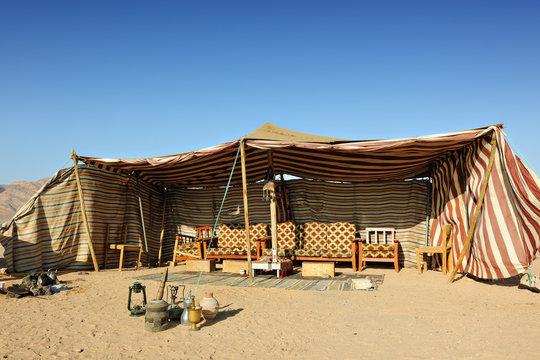 Bedouin tent in the desert of Wadi Rum