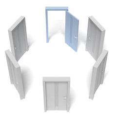 circle of closed doors and one opened
