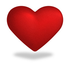 Red heart vector illustration isolated on white.