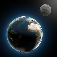 The Earth and Moon (elements furnished by NASA)