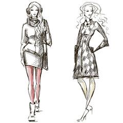 Fashion illustration winter style sketch