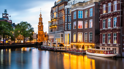 Aluminium Prints Amsterdam Amsterdam cityscape with the Mint tower at dusk