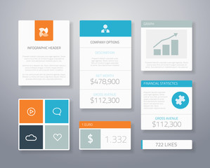 Infographic flat financial ui elements vector illustration