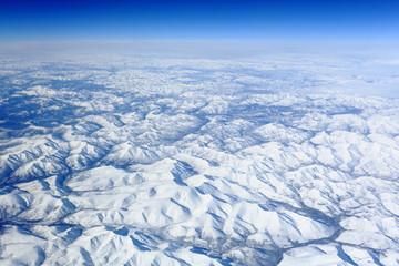 bird's eye view of the snow mountains