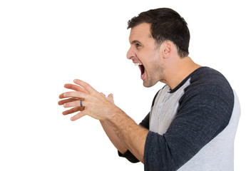 Side view of a angry, frustrated man yelling at someone