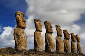 View of seven Ahu Akivi Moai