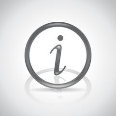 Information icon, symbol with drop shadow